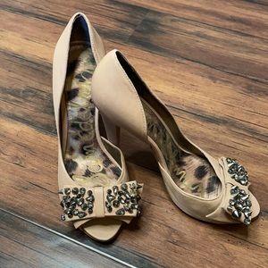 Sam Edelman tan leather upper heels size 8